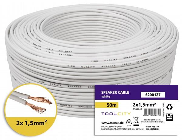 toolcity Lautsprecherkabel (Zwillingslitze) 2x1,5mm² (Boxenkabel/Audiokabel) 50 m Weiß