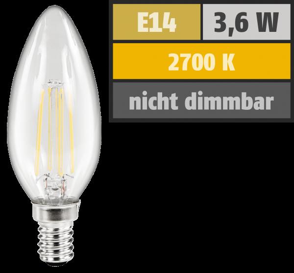 LED Filament Kerzenlampe McShine ''Filed'', E14, 3,6W, 360 lm, warmweiß, klar