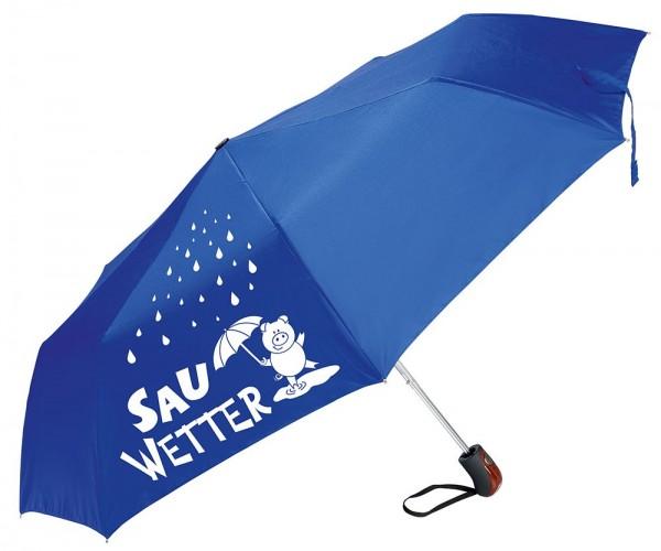 "Gilde Regenschirm Taschenschirm - ""Sauwetter"" blau Griff Holzlook"