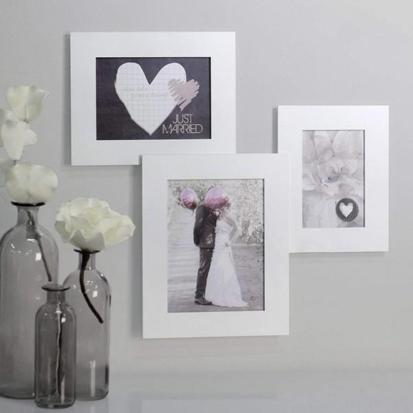 Bilderrahmen für 3 Fotos, weiß; Hochzeitsgeschenke, Geschenke zur Hochzeit,
