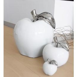 Keramik Deko-Apfel platin, weiß, Höhe: 10 cm