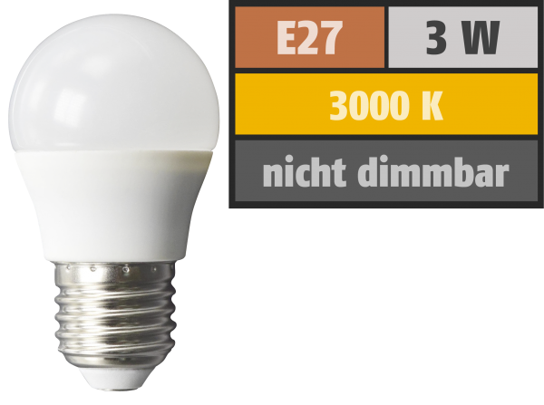 LED Tropfenlampe McShine, E27, 3W, 240 lm, 3000K, warmweiß