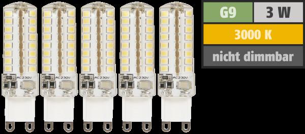 LED-Stiftsockellampe McShine ''Silicia'', G9, 3W, 320 lm, warmweiß, 5er-Pack