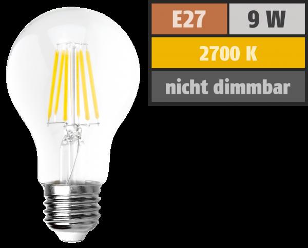 LED Filament GlüŸhlampe McShine ''Filed'', E27, 9W, 1055 lm, warmweiß, klar