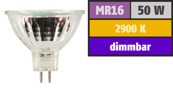 Halogen-Spiegellampe McShine, MR16, 50mm Ø, 12V/50W, 36° Flood, Frontglas