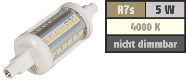 LED-Strahler McShine ''LS-736'', R7s, 5W, 410 lm, 78mm, 360°, weiß