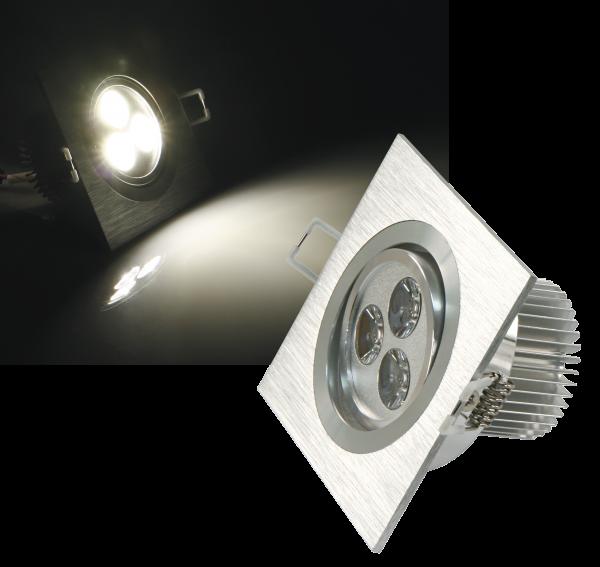LED-Einbaustrahler McShine ''LES-692'', 6W LEDs, 92x92mm, warmweiß