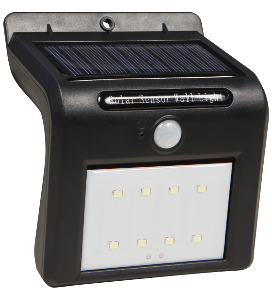 LED Solar Wandleuchte McShine, Bewegungsmelder, 8LEDs, 250lm, IP65, 1200mA Akku