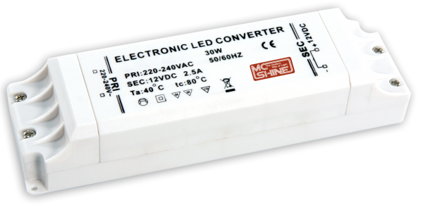LED-Trafo McShine, elektronisch, 1-30 W, 100-240 V -> 12 V, 169x46x37mm