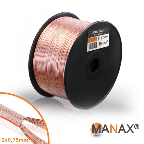 100m 2x0,75mm² Lautsprecherkabel transparent Audio Kabel Boxenkabel 100% CCA
