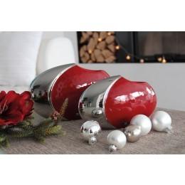 "ovale Vase ""Facella"" 2 Stück, rot, silber"