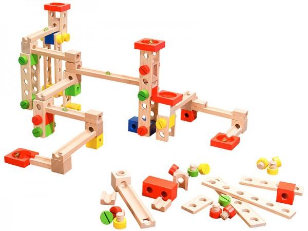 Kugelbahn Komplett-Set: Kugelbahn-Bausatz aus Holz, 50-teilig