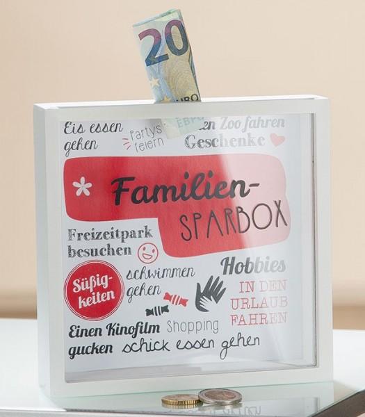 Spardose Familien-Sparbox Sichtfenster rot/weiß Höhe 17cm, Sparbüchse, Familie