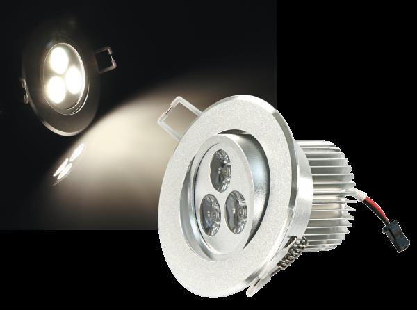 LED-Einbaustrahler McShine ''LES-386'', 3W LEDs, 86mm-Ø, warmweiß