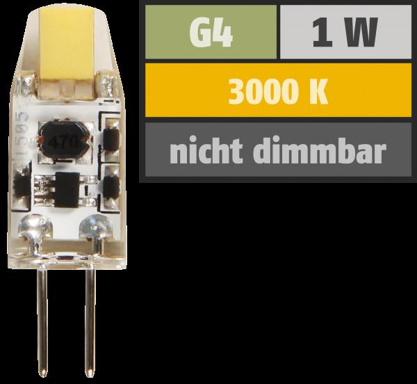 LED-Stiftsockellampe McShine ''Silicia COB'', G4, 1W, 110 lm, warmweiß
