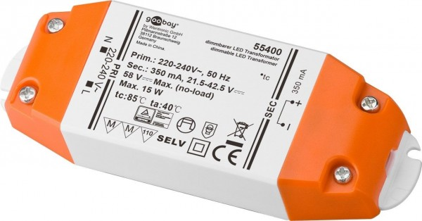 LED Konstantstrom-Trafo /15 W Dimmbar, 350 mA CC für LEDs bis 15 W Gesamtlast