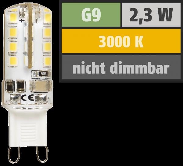 LED-Stiftsockellampe McShine ''Silicia'', G9, 2,3W, 180 lm, warmweiß