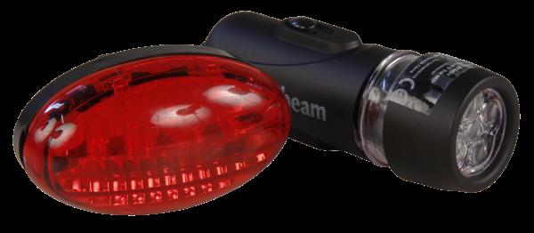 Fahrrad-Leuchtenset, 5 weiße ultrabright LEDs front, 3 rote fŸür Heck