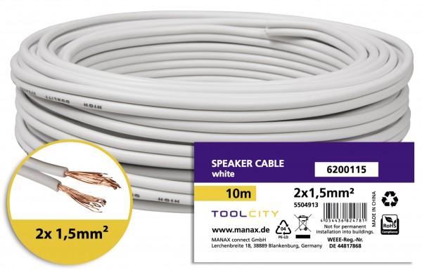 toolcity Lautsprecherkabel (Zwillingslitze) 2x1,5mm² (Boxenkabel/Audiokabel) 10 m Weiß