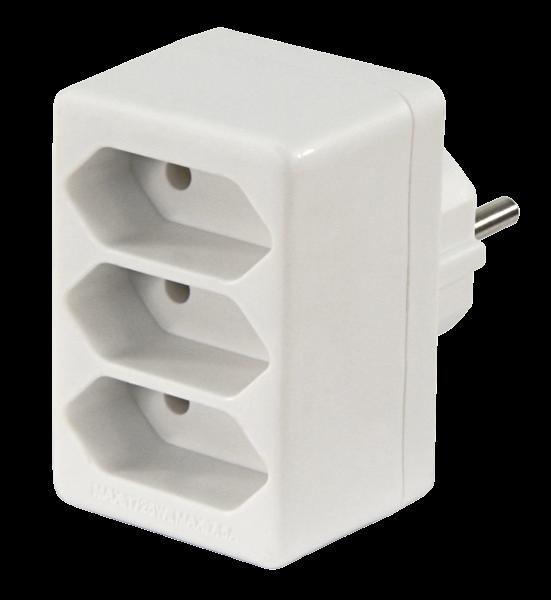 Adapterstecker McPower, 3x Euro, weiß