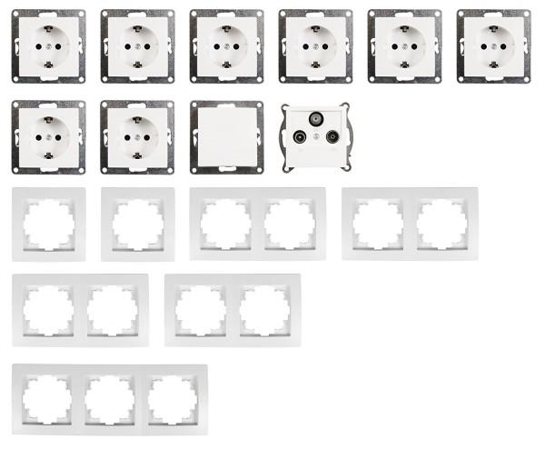 """Interrupteur et prises de courant Set FLAIR /""""Bureau/"""" 17 Pièces Blanc"""