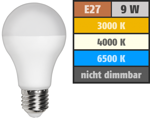 LED-GlŸühlampe McShine, E27, 9W, 810 lm, Farbwechsel 3000K/6500K/4000K