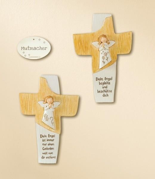 Tolles Wandkreuz aus Kunststein / Kreuz mit Schutzengel von Gilde / Mutmacher