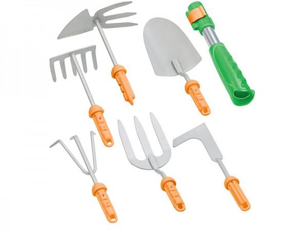 7-teiliges Garten-Werkzeug-Set mit 6 Wechsel-Aufsätzen und Handgriff