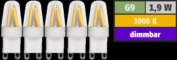LED-Stiftsockellampe McShine ''Silicia'', G9, 1,9W, 180lm, warmweiß, 5er-Pack