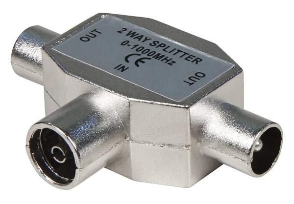 T-Adapter fŸür Fernseher, 2xKoax-Stecker/1xKoax-Buchse, MetallausŸührung