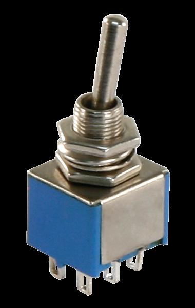 Miniatur-Kippschalter McPower, 2xUM, 6-polig, 2 Stellungen: EIN / EIN
