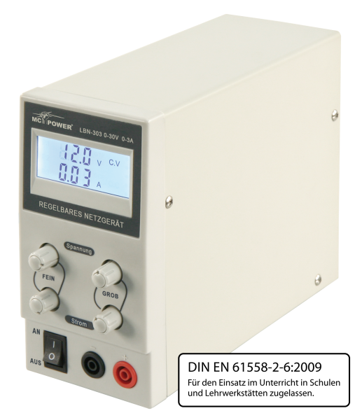 LabornetzgeräŠt McPower ''LBN-303'', 0-30 V, 0-3 A regelbar, LC-Anzeige