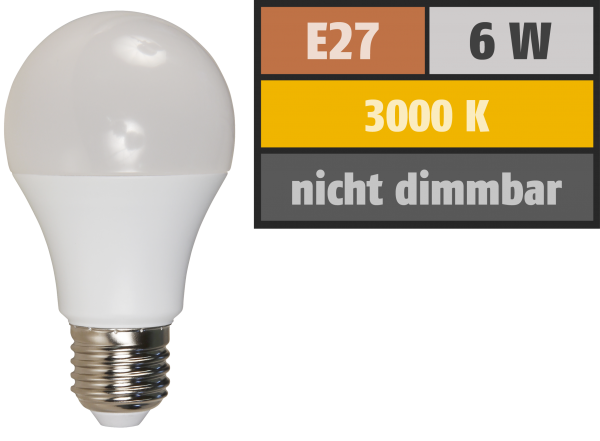 LED GlŸühlampe McShine, E27, 6W, 480lm, 3000K, warmweiß