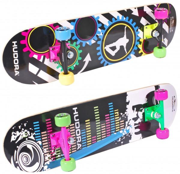 Hudora Skateboard Neon / ABEC 1 Board Concave / Rutschfester Sandgrip / Ahornholz
