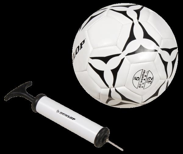 Fußball mit Luftpumpe DUNLOP, Gršöße 5