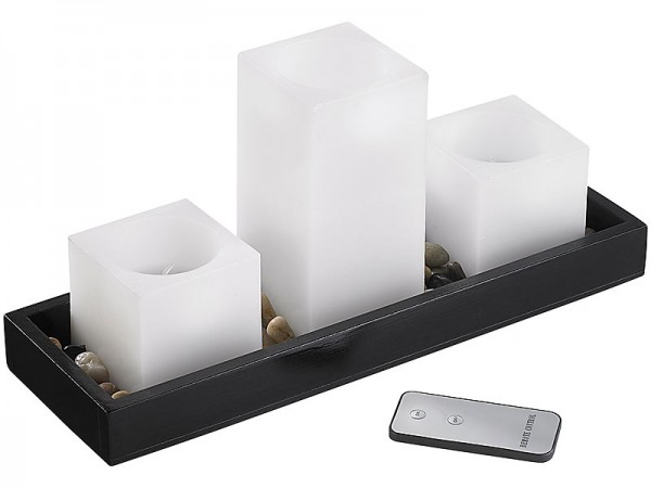 Feng-Shui-Dekoration: LED-Echtwachskerzen auf Holztablett
