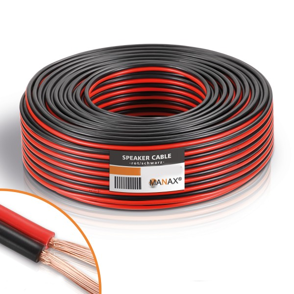 30m 2x4mm² Lautsprecherkabel rot / schwarz Audio Kabel Boxenkabel 100% CCA