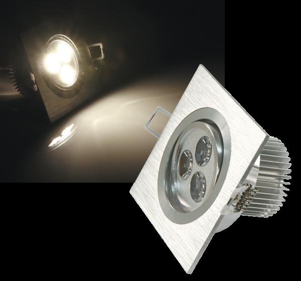 LED-Einbaustrahler McShine ''LES-392'', 3W LEDs, 92x92mm, warmweiß