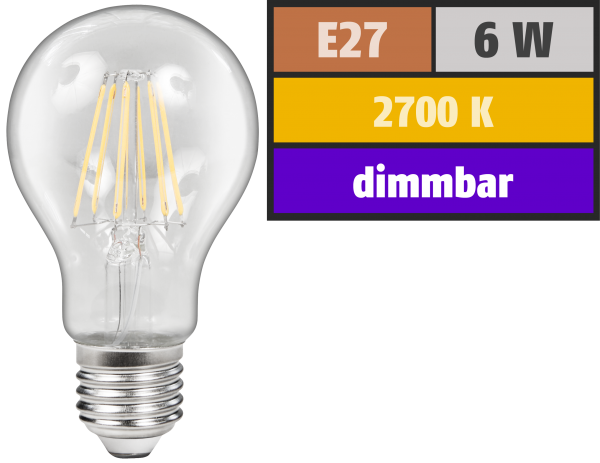 LED Filament GlüŸhlampe McShine ''Filed'', E27, 6W, 600 lm, warmweiß, dimmbar, klar