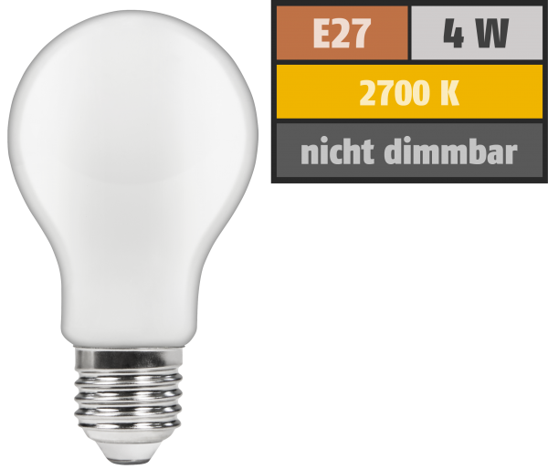 LED Filament GlŸühlampe McShine ''Filed'', E27, 4W, 420 lm, warmweiß, matt
