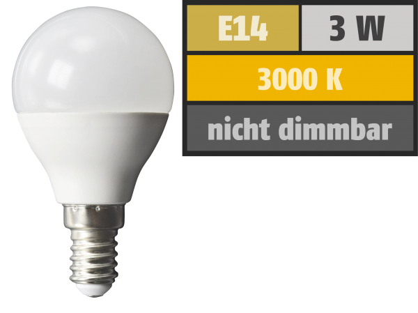LED-Tropfenlampe McShine, E14, 3W, 240 lm, 3000K, warmweiß