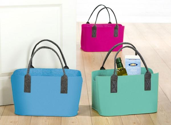 1 x Filztasche Colorful Tragegriff blau B41 cm, Einkaufen, shoppen