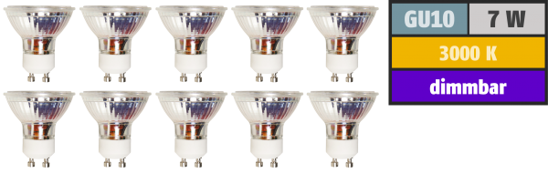 LED-Strahler McShine ''MCOB'' GU10, 7W, 450 lm, warmweiß, dimmbar, 10er-Pack