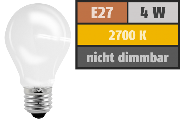 LED-Filament GlŸühlampe, E27, 4W, 450 lm, warmweiß, matt