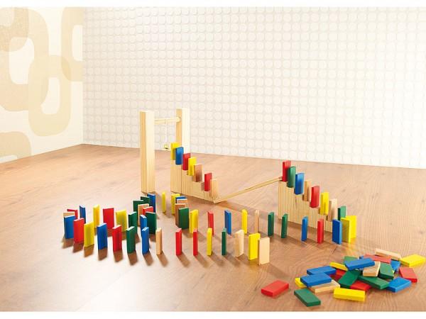 263-teiliges Domino-Set mit Holzsteinen & Action-Elementen
