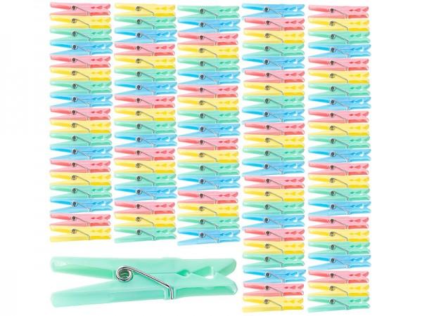 Bunte Wäscheklammern aus Kunststoff, 100 Stück in 4 Farben, 7 cm