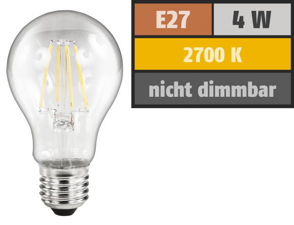 LED Filament GlŸühlampe McShine ''Filed'', E27, 4W, 470lm, warmweiß, klar