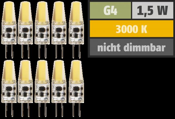 LED-Stiftsockellampe McShine ''Silicia COB'', G4, 1,5W, 200lm, warmweiß, 10er-Pack