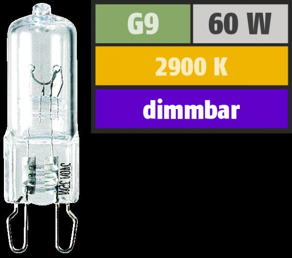 Halogen-Stiftsockellampe McShine, 230V / 60W, Sockel G9, 2.000h, klar