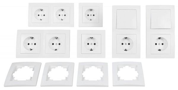 Schalter und Steckdosen Set Flair ''Wohnlandschaft'', 20-teilig, weiß